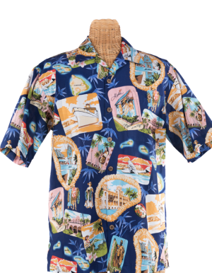 Newt's retro-print aloha shirt with the Nostalgia design