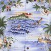 Newt's retro-print aloha shirt with the Aloha Tower design