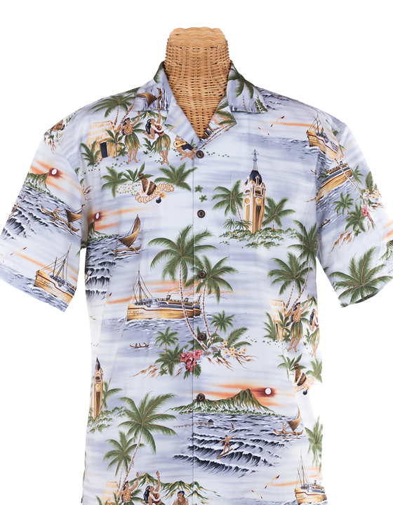 Newt's retro-print aloha shirt with the Aloha Tower design