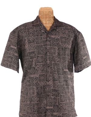 Newt's retro-print aloha shirt with a Hawaiian quilt design