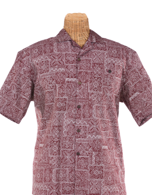 Newt's retro-print aloha shirt with the Hawaiian quilt design