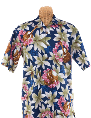 Newt's retro-print aloha shirt with the Ukulele design
